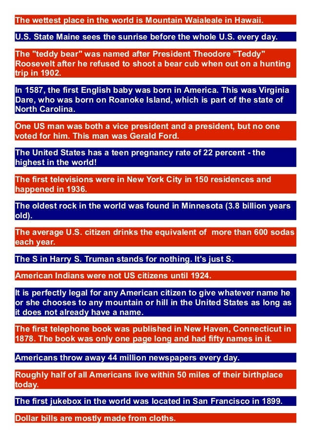 Fun facts usa for Interesting fact about america