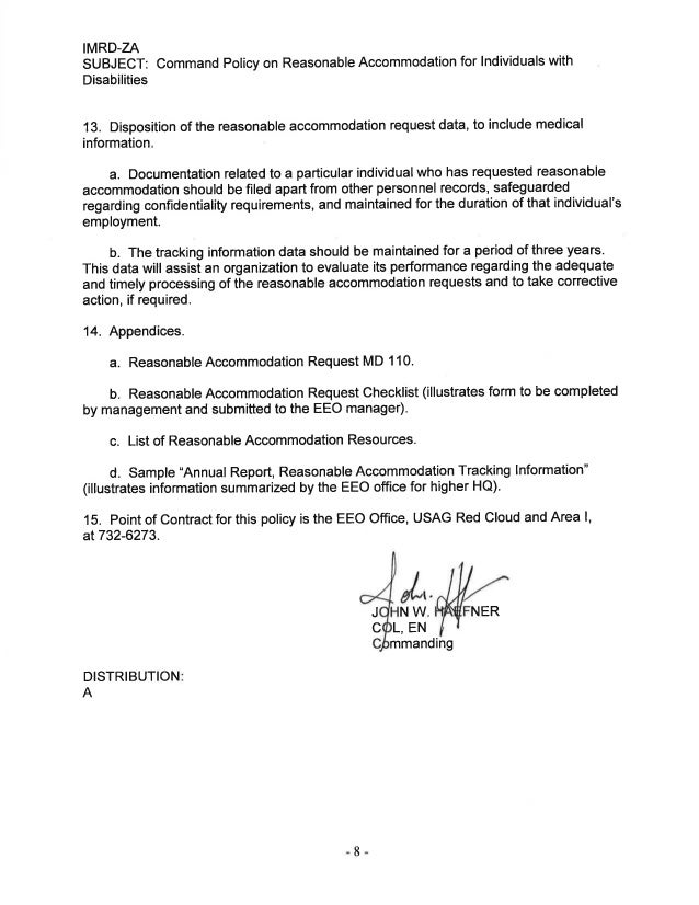 USAG Red Cloud Command Policy 1-10 Resonable Accommodation Individual…