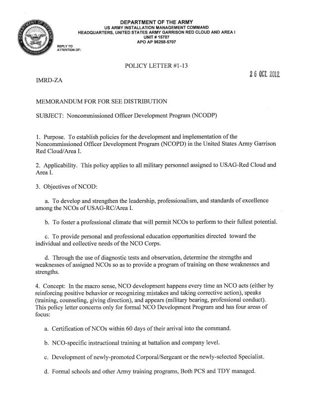 USAG Red Cloud Command Policy 1-13 Noncommissioned Officer Development Program