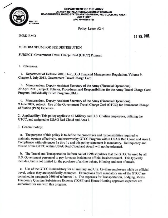 USAG Red Cloud Command Policy 2-04 Government Travel ...