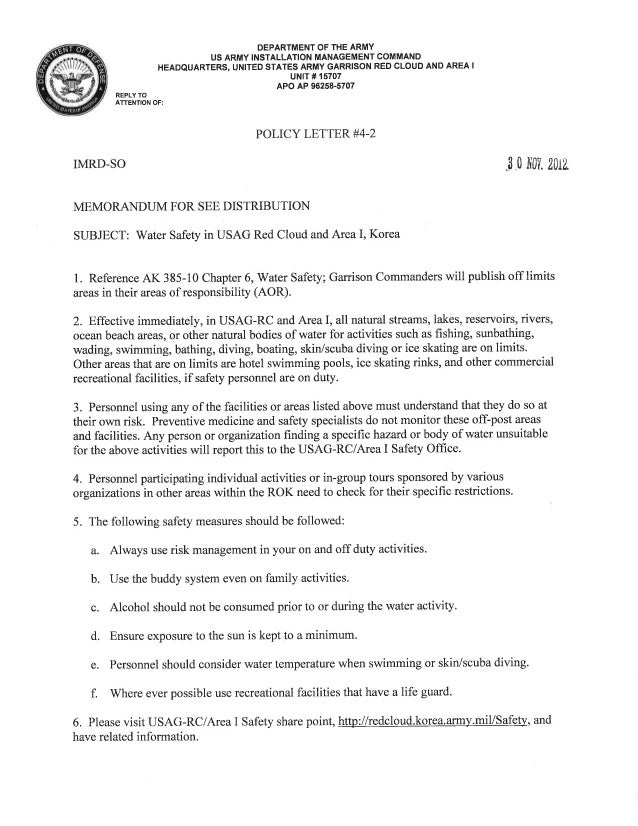 USAG Red Cloud Command Policy 4-02 Water Safety Policy