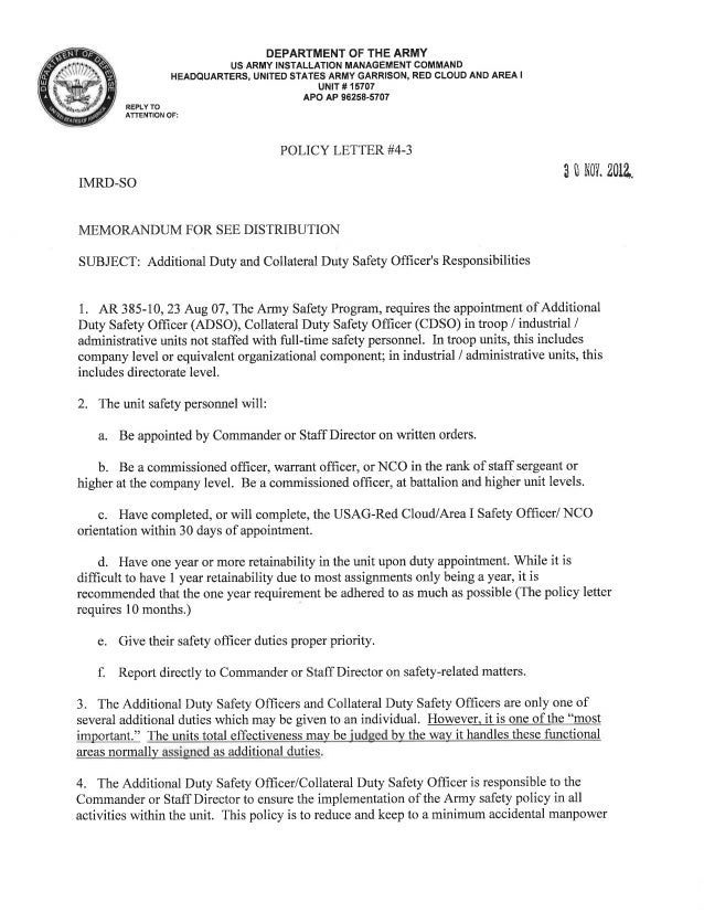USAG Red Cloud Command Policy 4-03 ADSO CDSO Policy Letter