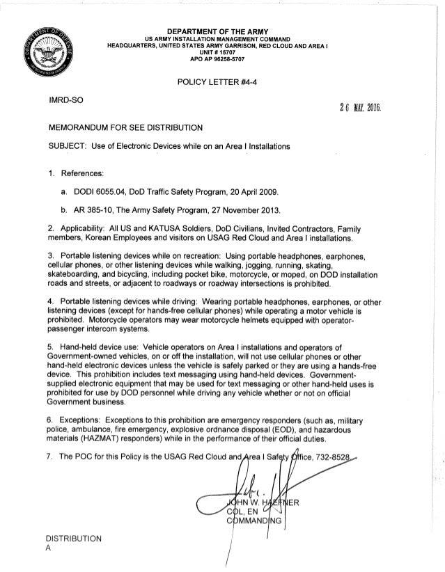 USAG RC and Area I Policy letter #4 4 Use of electronic devices while…