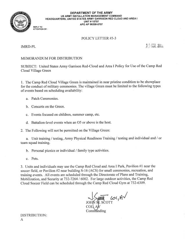 USAG Red Cloud Command Policy 5-03 Use of CRC Village Green