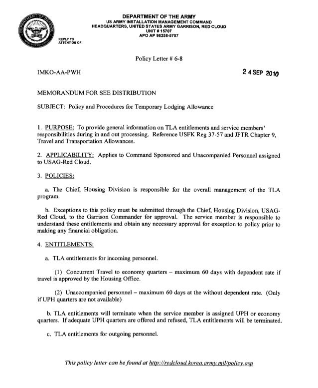 USAG-RC Command Policy 6-08 TLA Policy and Procedures