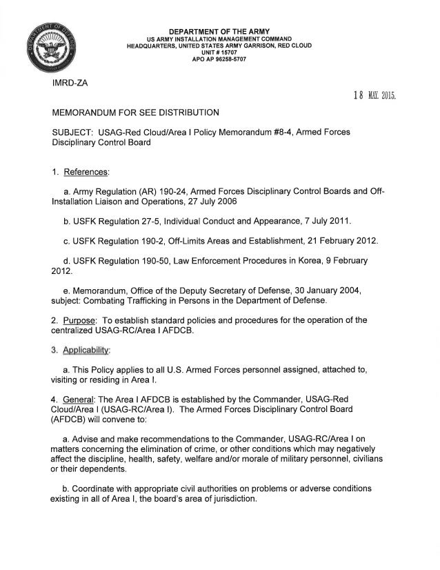 USAG RC Command Policy Memorandum 84 Armed Forces Disciplinary Cont – Decision Memo Template