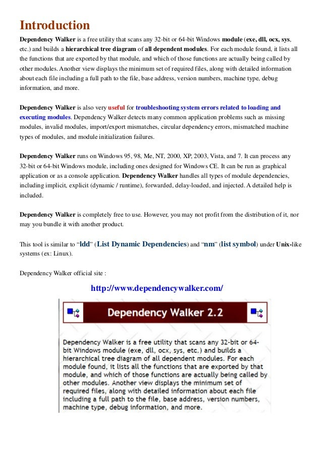 Dependency Walker An Advanced Troubleshooting Tool