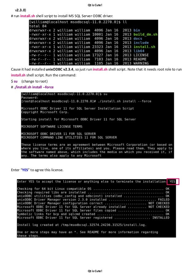 Usage Note of Qt ODBC Database Access on Linux