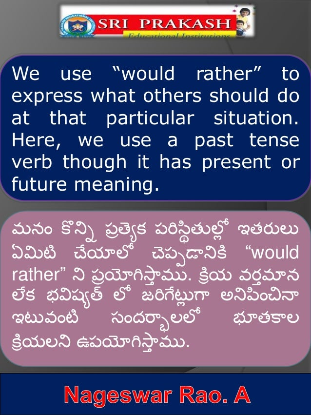 Usage of 'would rather' with Telugu Explanation