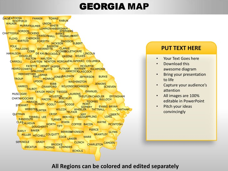 usa georgia state powerpoint county editable ppt maps and templates. Black Bedroom Furniture Sets. Home Design Ideas