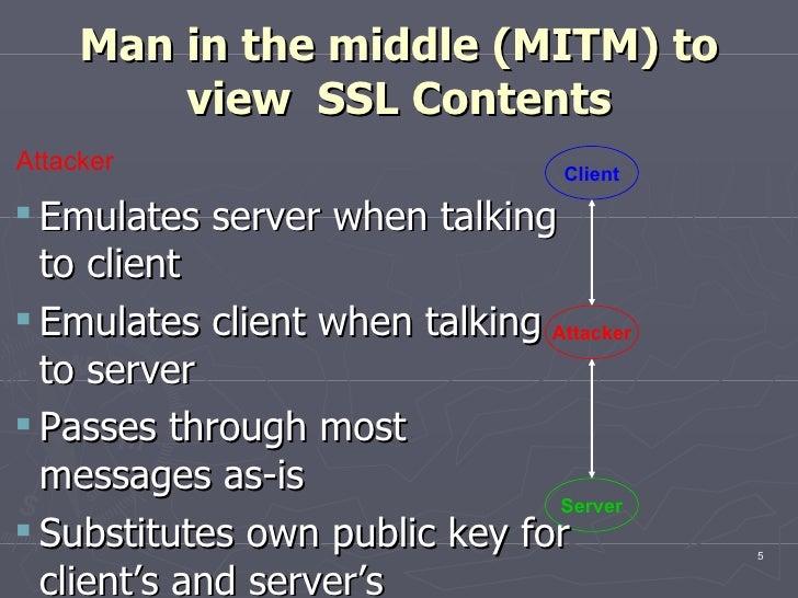 Man in the middle (MITM) to view  SSL Contents <ul><ul><li>Emulates server when talking to client </li></ul></ul><ul><ul><...