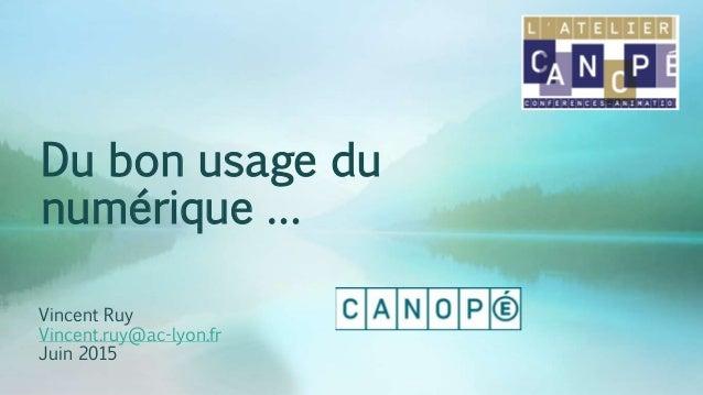Du bon usage du numérique … Vincent Ruy Vincent.ruy@ac-lyon.fr Juin 2015