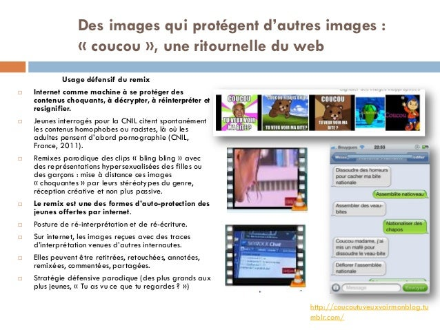 Des images qui protégent d'autres images : « coucou », une ritournelle du web Usage défensif du remix  Internet comme mac...