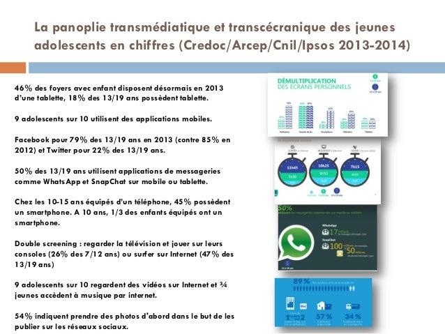 La panoplie transmédiatique et transcécranique des jeunes adolescents en chiffres (Credoc/Arcep/Cnil/Ipsos 2013-2014)  46...