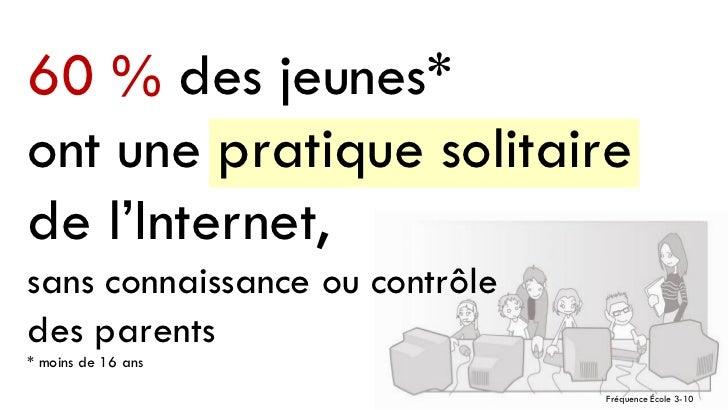 60 % des jeunes*ont une pratique solitairede l'Internet,sans connaissance ou contrôledes parents* moins de 16 ans         ...