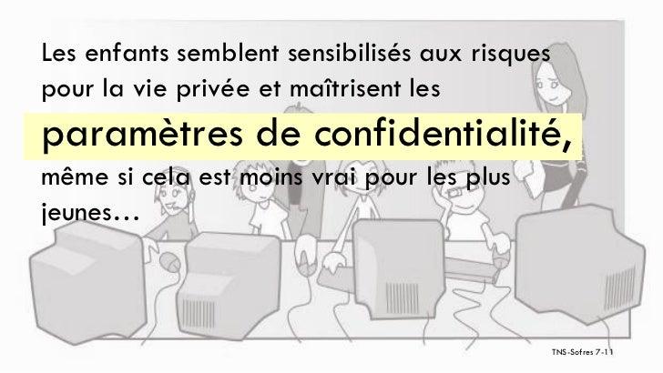Les enfants semblent sensibilisés aux risquespour la vie privée et maîtrisent lesparamètres de confidentialité,même si cel...