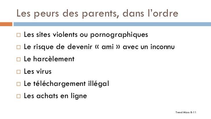 Les peurs des parents, dans l'ordre   Les sites violents ou pornographiques   Le risque de devenir « ami » avec un incon...