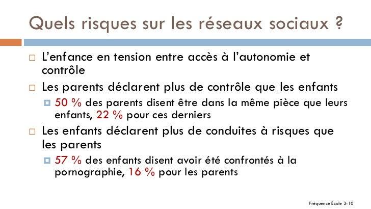 Quels risques sur les réseaux sociaux ?   L'enfance en tension entre accès à l'autonomie et    contrôle   Les parents dé...
