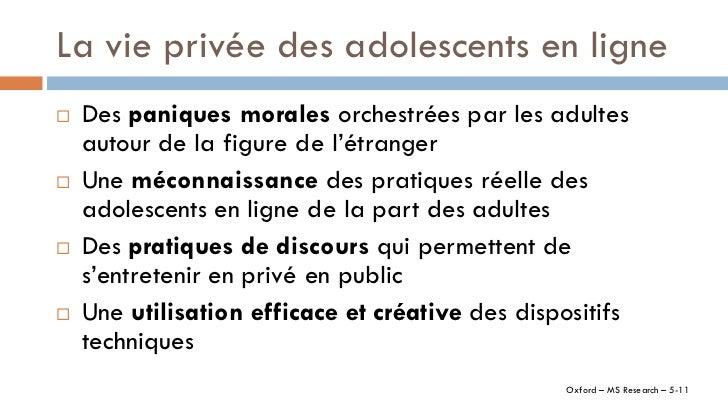 La vie privée des adolescents en ligne   Des paniques morales orchestrées par les adultes    autour de la figure de l'étr...