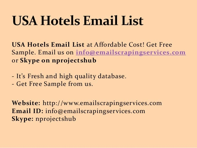 Usa hotels email list