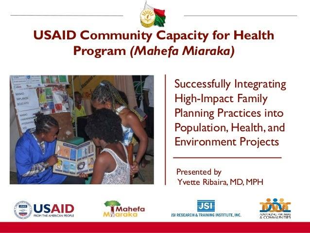 USAID Community Capacity for Health Program (Mahefa Miaraka) Successfully Integrating High-Impact Family Planning Practice...