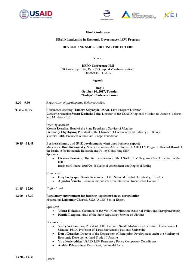 Final Conference USAID Leadership in Economic Governance (LEV) Program DEVELOPING SME – BUILDING THE FUTURE Venue: DEPO Co...