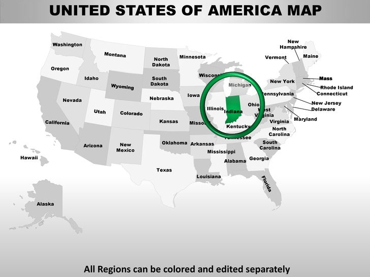 Usa indiana state powerpoint county editable ppt maps and templates