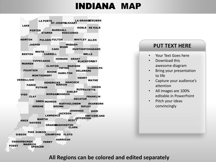usa indiana state powerpoint county editable ppt maps and