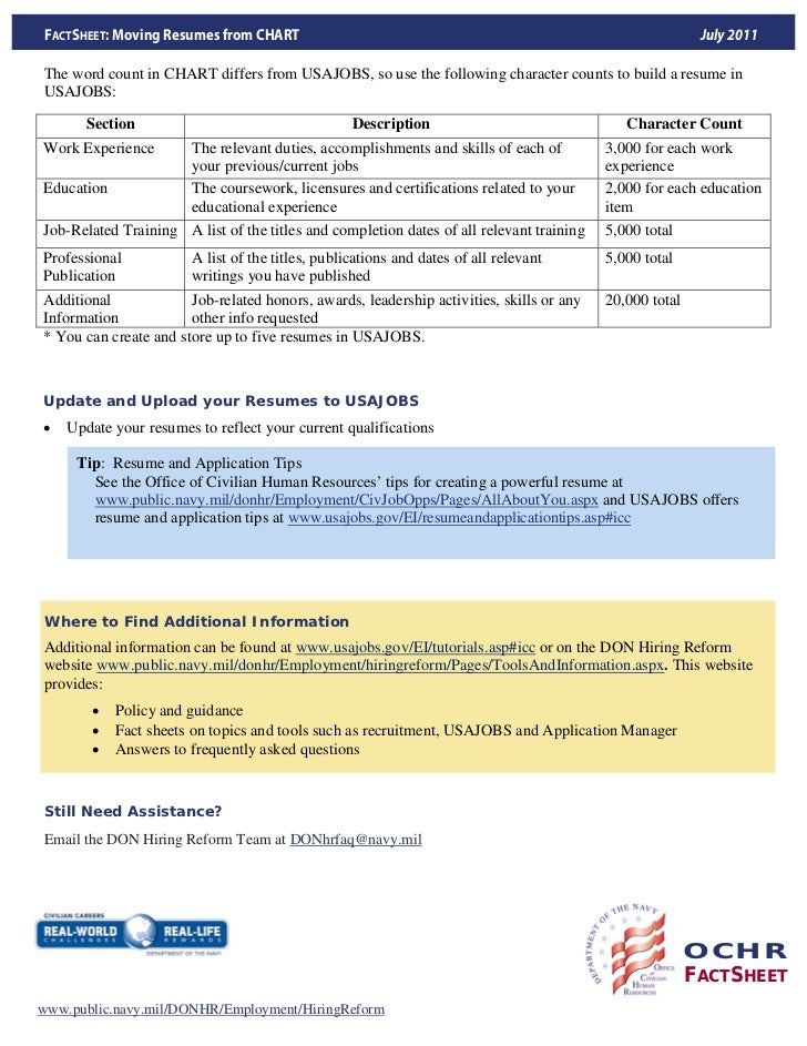 ... FACTSHEET; 7. FACTSHEET: Moving Resumes ...  Usajobs Online Resume Builder