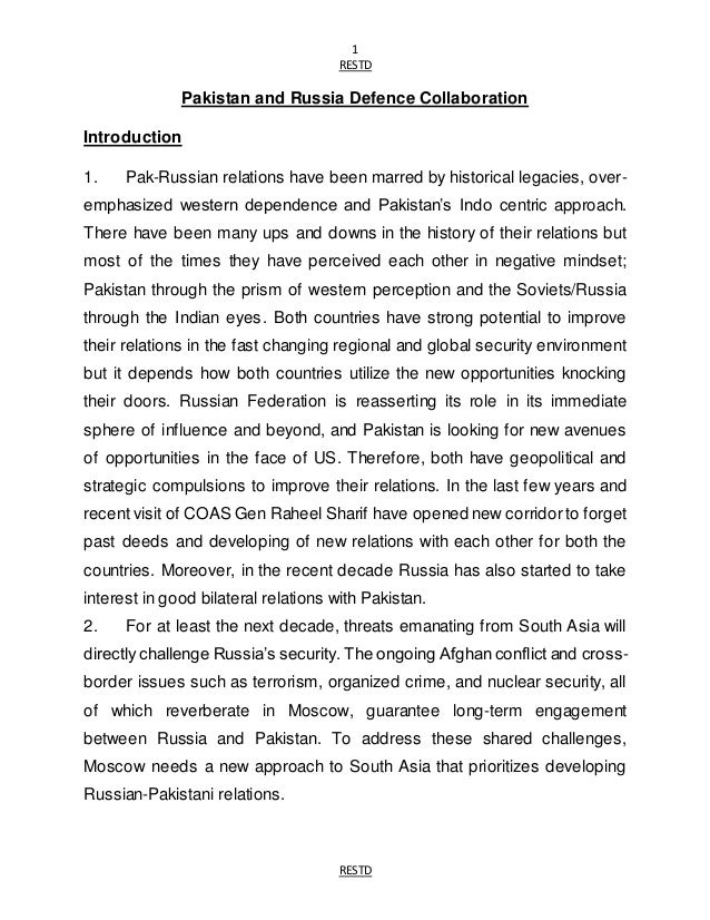 Pakistan - Russian Defence Collaboration
