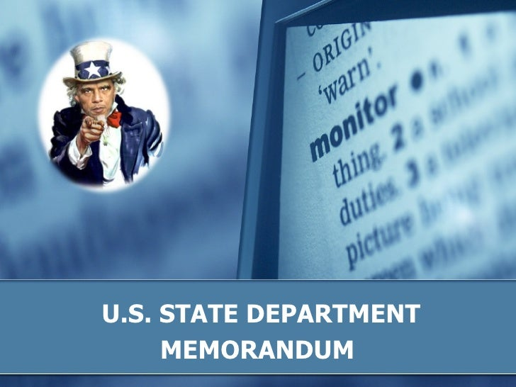U.S. STATE DEPARTMENT MEMORANDUM