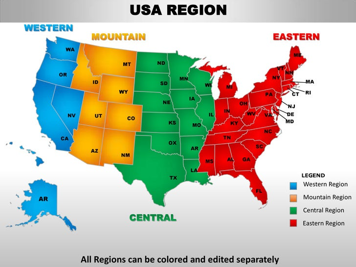 Usa Mountain Region Country Editable Powerpoint Maps With States And - Usa map 4 regions