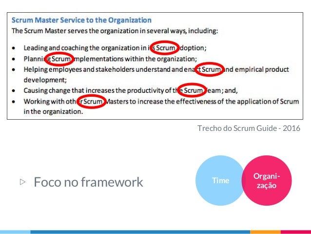 Trecho do Scrum Guide - 2016 Time Organi- zação▷ Foco no framework