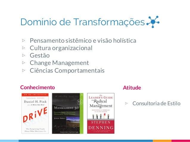 Domínio de Transformações Conhecimento Atitude ▷ Consultoria de Estilo ▷ Pensamento sistêmico e visão holística ▷ Cultura ...