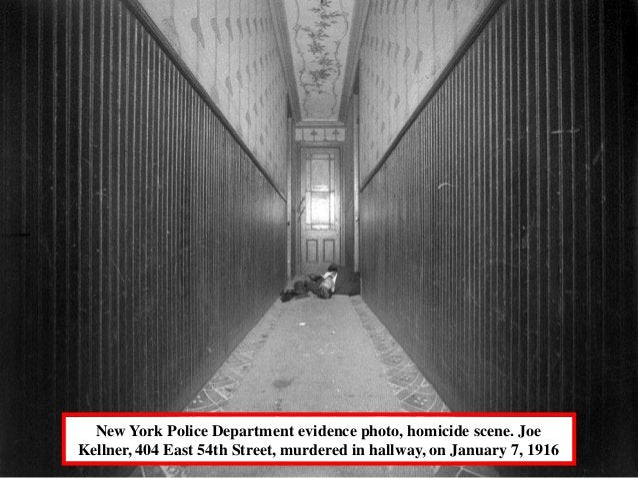 New York Police Department evidence photo, homicide scene. JoeKellner, 404 East 54th Street, murdered in hallway, on Janua...