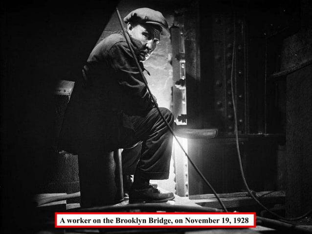 A worker on the Brooklyn Bridge, on November 19, 1928