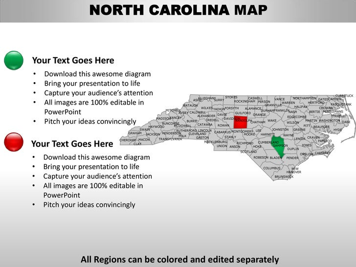 Usa north carolina state powrpoint county editable ppt maps and templ