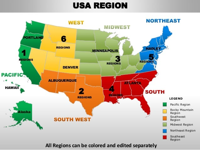 Usa Northeast Region Country Editable Powerpoint Maps With States And - Colored usa map