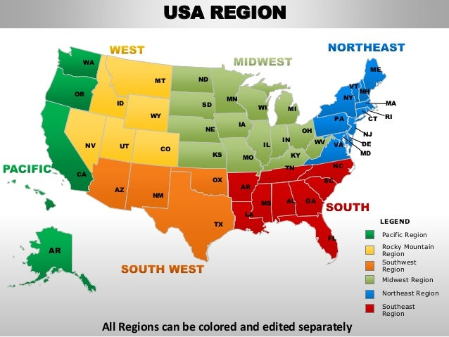 Usa northeast region country editable powerpoint maps with states and…