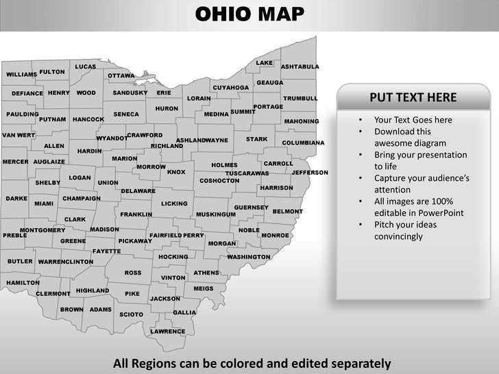 usa ohio state powerpoint county editable ppt maps and