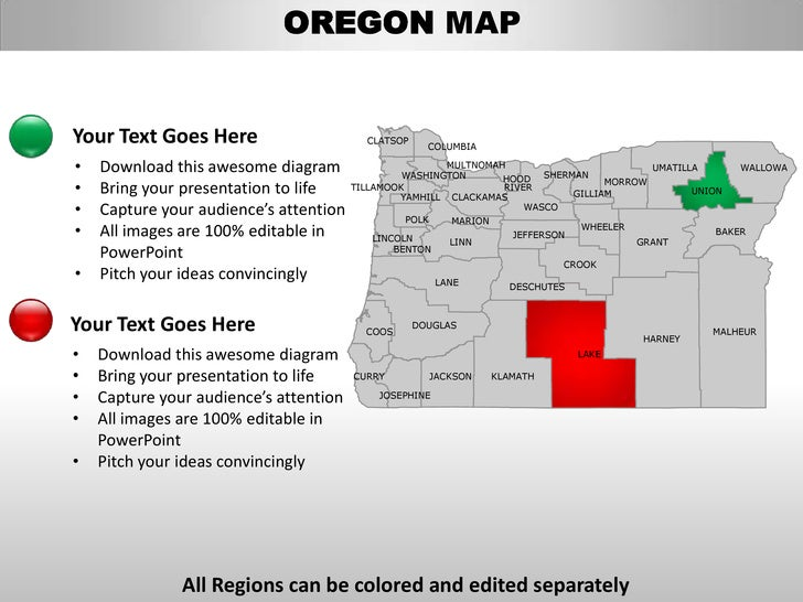 oregon state powerpoint template - usa oregon state powerpoint county editable ppt maps and