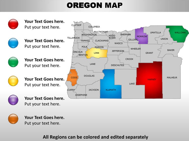 usa oregon state powerpoint county editable ppt maps and templates, Modern powerpoint