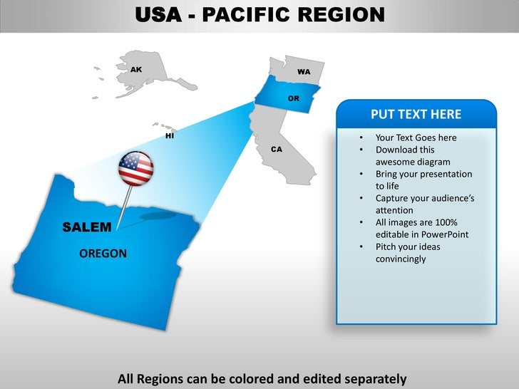oregon state powerpoint template - usa pacific region country editable powerpoint maps with