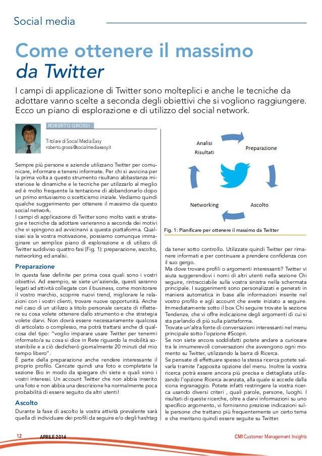 APRILE 2014 CMI Customer Management Insights12 ROBERTO GROSSI Sempre più persone e aziende utilizzano Twitter per comu- ni...