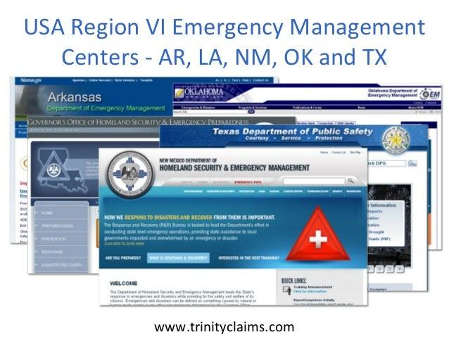 USA Region VI Emergency Management   Centers - AR, LA, NM, OK and TX           www.trinityclaims.com
