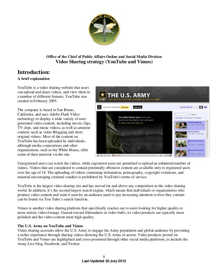 Office of the Chief of Public Affairs Online and Social Media Division                         Video Sharing strategy (You...
