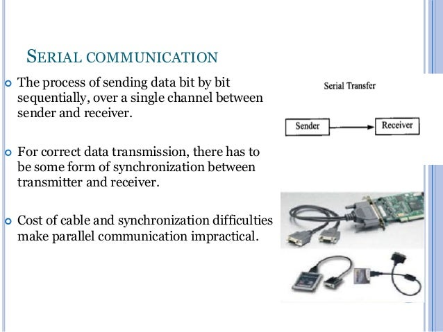 SERIAL COMMUNICATION   The process of sending data bit by bit sequentially, over a single channel between sender and rece...