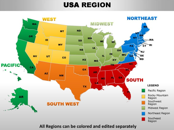 Usa South Region Country Editable Powerpoint Maps With States And Cou - Us map colored by region