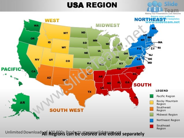 Usa south west region country editable powerpoint maps with states an…