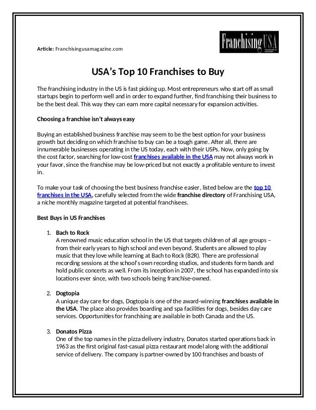 Usa S Top 10 Franchises To Buy